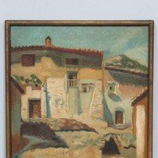 Arte: BONITA VISTA DE PUEBLO. OLEO S/ LIENZO. FIRMADO. 1921. Lote 137546526
