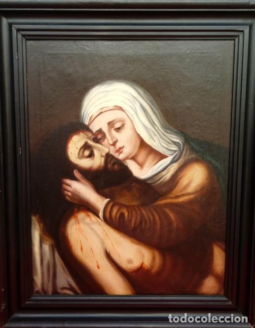 Arte: ÓLEO S/LIENZO -PIEDAD-, ESCUELA ITALIANA S. XVII. MUY BIEN ENMARCADO. DIM.- 101X82 CMS. - Foto 3 - 137570614