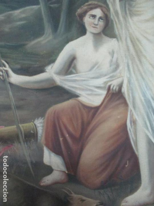 Arte: Óleo sobre Tela - Diana Cazadora - Escena Clásica - 180 cm Ancho, 133,5 Altura - S. XIX - Foto 7 - 137610538