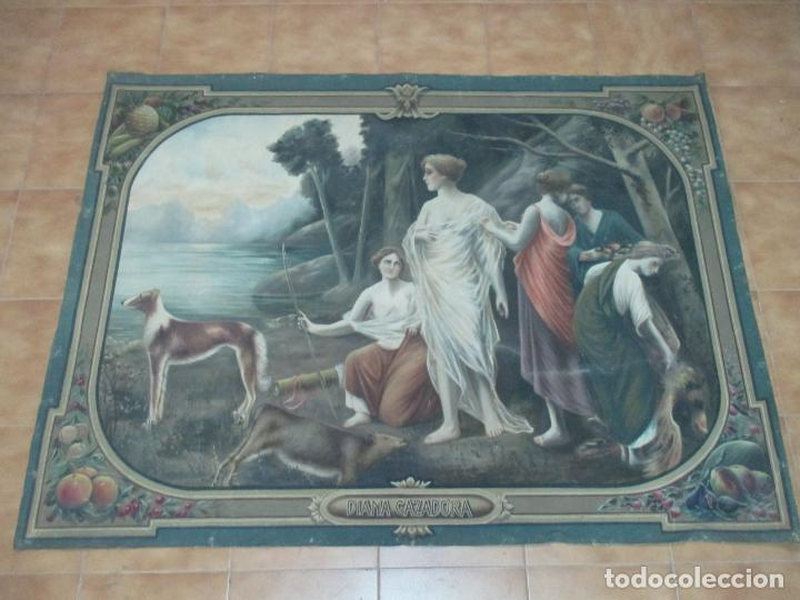 Arte: Óleo sobre Tela - Diana Cazadora - Escena Clásica - 180 cm Ancho, 133,5 Altura - S. XIX - Foto 23 - 137610538