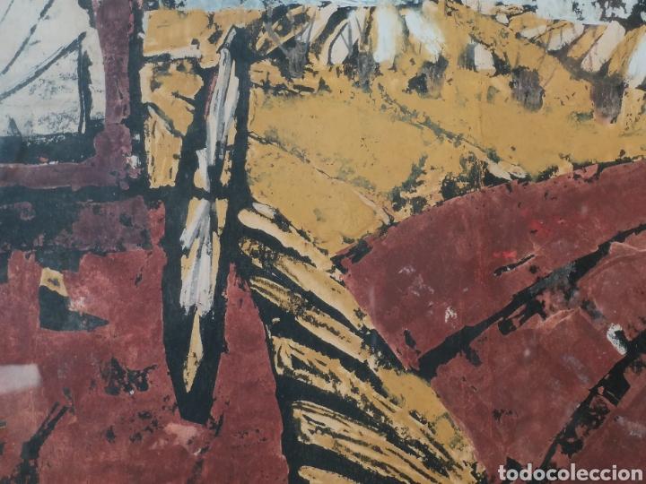 Arte: IMPORTANTE OBRA ANÓNIMA, ACRILICO SOBRE PAPEL/CARTÓN, MUY BIEN ENMARCADO 60x40cm. Para analizar. - Foto 3 - 137636281