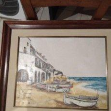 Arte: PLAÇA DE PORT BO, CALELLA DE PALAFRUGELL, AUTOR BERNARD DABUR, 44 X 35 CM. Lote 137665886
