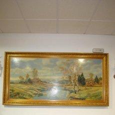 Arte - ANTIGUA PINTURA EN TABLA CON MARCO DE MADERA TALLADA - 137727174