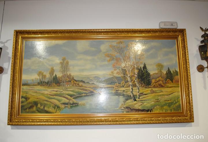 Arte: ANTIGUA PINTURA EN TABLA CON MARCO DE MADERA TALLADA - Foto 2 - 137727174