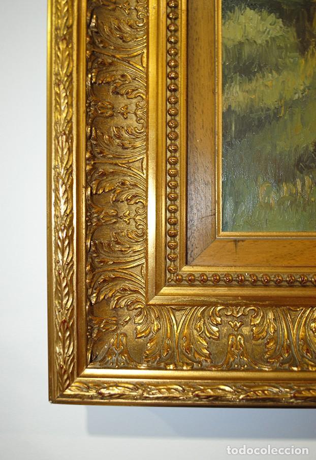 Arte: ANTIGUA PINTURA EN TABLA CON MARCO DE MADERA TALLADA - Foto 4 - 137727174