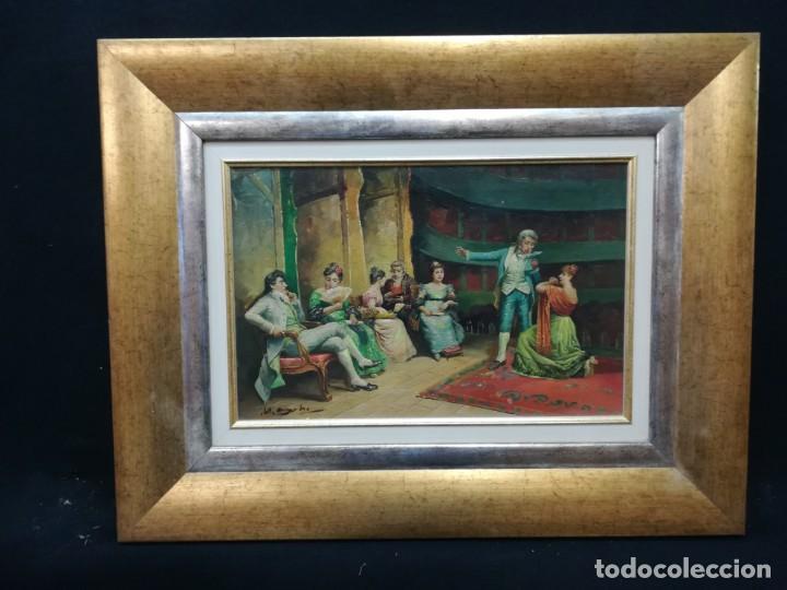 Arte: ENSAYO EN EL TEATRO, CUADRO DE MITAD DEL S.XX, FIRMA ILEGIBLE POR MI - Foto 12 - 137895338