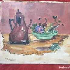 Arte: OLEO SOBRE LIENZO FRUTERO FRUTAS CAFETERA BODEGON SIN MARCO C ESCANDON FIRMADO 54X66CMS. Lote 137916986