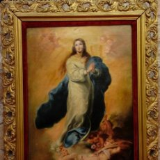 Arte: ÓLEO S/LIENZO -INMACULADA-. ESCUELA BARROCA SEVILLANA S. XVIII, DE MURILLO. DIM.- 74X57 CMS.. Lote 137926034