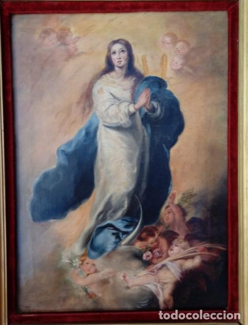 Arte: ÓLEO S/LIENZO -INMACULADA-. ESCUELA BARROCA SEVILLANA S. XVIII, DE MURILLO. DIM.- 74X57 CMS. - Foto 6 - 137926034