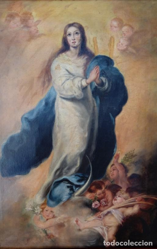 Arte: ÓLEO S/LIENZO -INMACULADA-. ESCUELA BARROCA SEVILLANA S. XVIII, DE MURILLO. DIM.- 74X57 CMS. - Foto 7 - 137926034