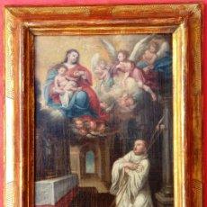 Arte: ÓLEO S/LIENZO -LA LACTANCIA DE SAN BERNARDO-. ESC BARROCA SEVILLANA S. XVII, CÍRCULO MURILLO. 52X38. Lote 137930350