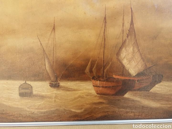 Arte: Cuadro de pintura Marina antigua a mano sobre tela firmada ..barco velero..decoracion nautica - Foto 3 - 137896857