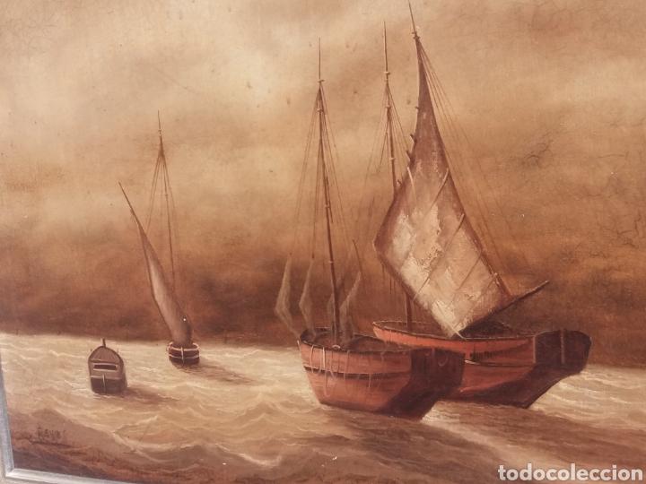 Arte: Cuadro de pintura Marina antigua a mano sobre tela firmada ..barco velero..decoracion nautica - Foto 2 - 137896857