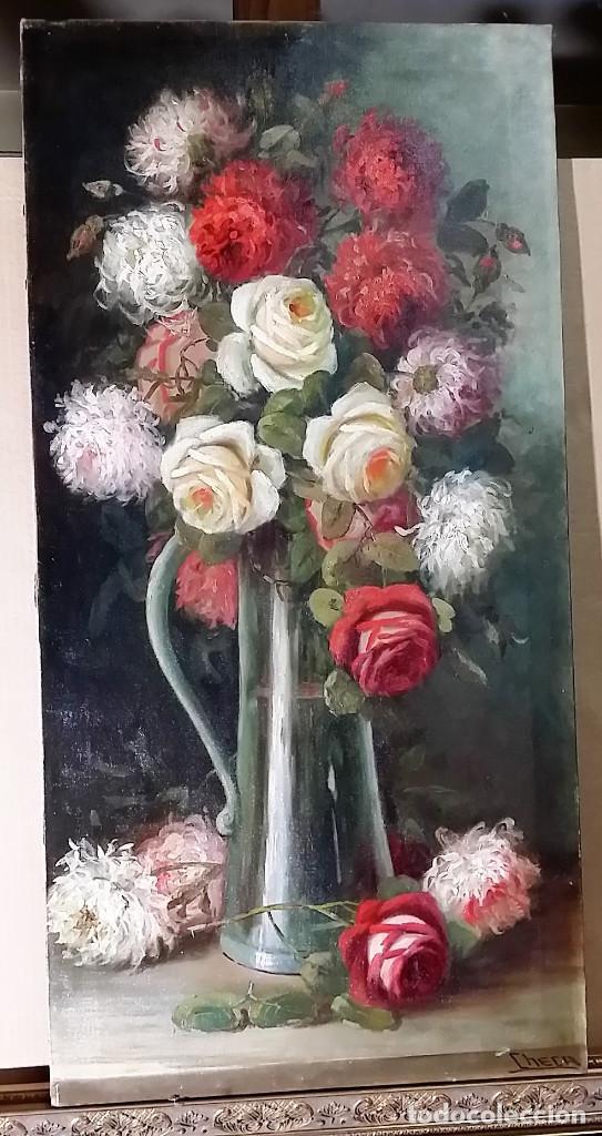 FERNANDO MARTINEZ CHECA REQUENA VALENCIA 1858 BAEZA JAEN 1933 BODEGON DE FLORES (Arte - Pintura - Pintura al Óleo Contemporánea )