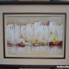Arte: MARAVILLOSO ANTIGUO OLEO MARINO SOBRE CATÓN. Lote 137984706