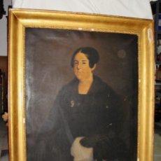 Arte: OLEO SOBRE LIENZO. S.XIX. RETRATO DE SEÑORA DE LA BURGUESÍA GADITANA. VESTIDA DE ÉPOCA. GRAN TAMAÑO.. Lote 137989666