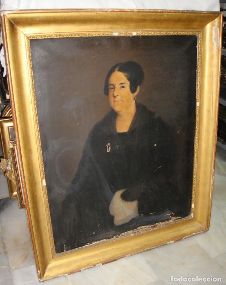 Arte: Oleo sobre lienzo. S.XIX. Retrato de Señora de la Burguesía Gaditana. Vestida de época. Gran tamaño. - Foto 2 - 212746028