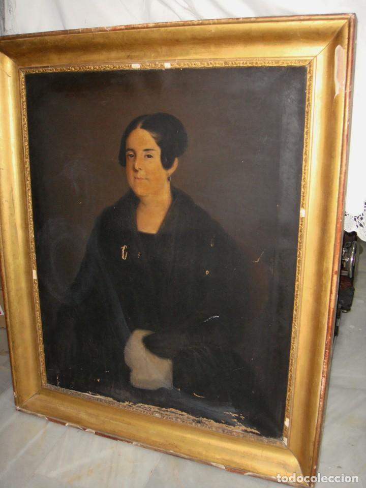 Arte: Oleo sobre lienzo. S.XIX. Retrato de Señora de la Burguesía Gaditana. Vestida de época. Gran tamaño. - Foto 3 - 212746028