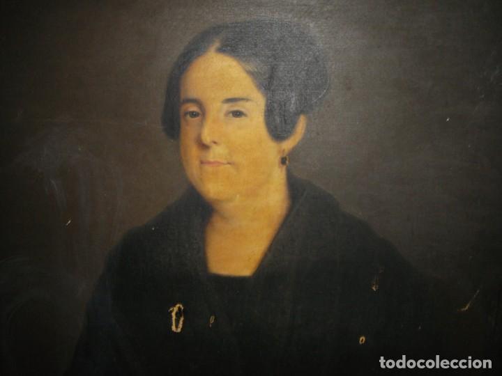 Arte: Oleo sobre lienzo. S.XIX. Retrato de Señora de la Burguesía Gaditana. Vestida de época. Gran tamaño. - Foto 4 - 212746028