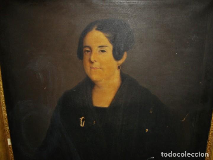 Arte: Oleo sobre lienzo. S.XIX. Retrato de Señora de la Burguesía Gaditana. Vestida de época. Gran tamaño. - Foto 5 - 212746028