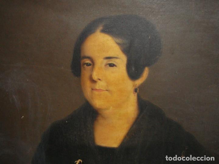 Arte: Oleo sobre lienzo. S.XIX. Retrato de Señora de la Burguesía Gaditana. Vestida de época. Gran tamaño. - Foto 6 - 212746028