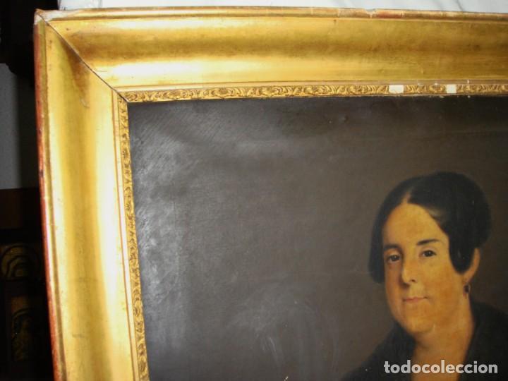 Arte: Oleo sobre lienzo. S.XIX. Retrato de Señora de la Burguesía Gaditana. Vestida de época. Gran tamaño. - Foto 7 - 212746028