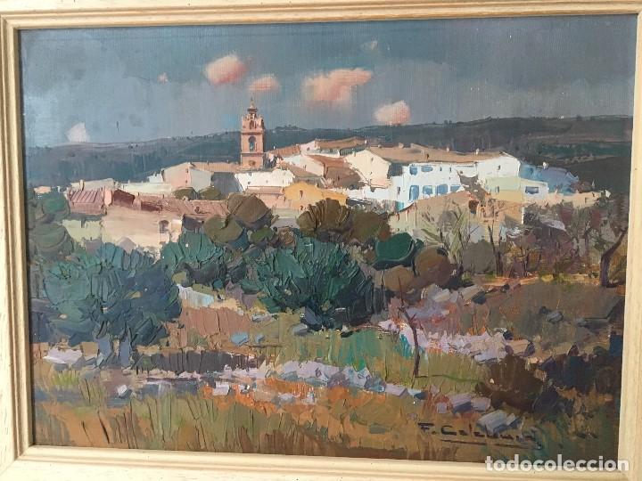 PAISAJE CON PUEBLO DE FRANSESC CALABUIG, CON CERTIFICADO DE AUTENTICIDAD (Arte - Pintura - Pintura al Óleo Contemporánea )