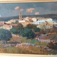 Arte: PAISAJE CON PUEBLO AL FONDO DE FRANSESC CALABUIG. Lote 138059750