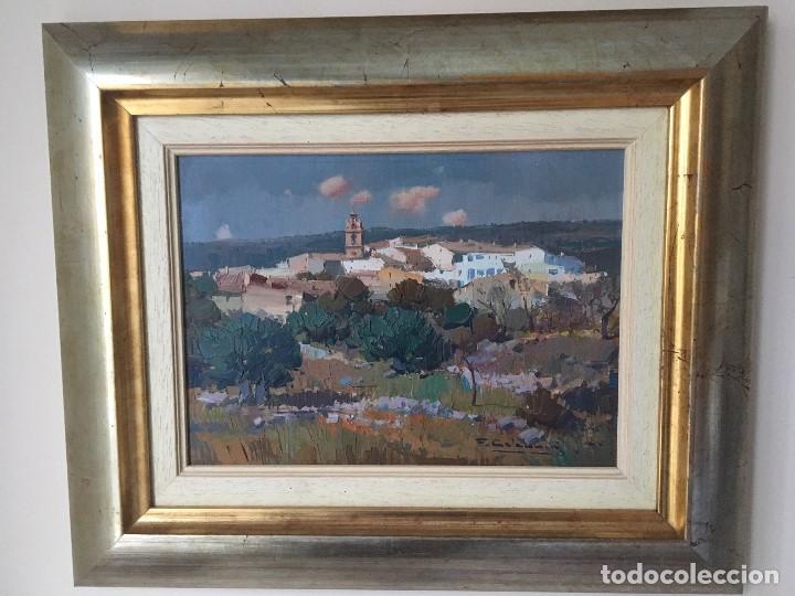 Arte: Paisaje con pueblo de Fransesc Calabuig, con certificado de autenticidad - Foto 5 - 138059750