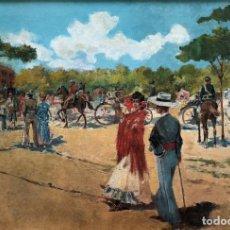 Arte: MARIANO OBIOLS DELGADO - A LOS TOROS MADRID - ÓLEO LIENZO. Lote 138188474