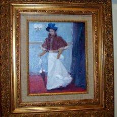 Arte: MAGNIFICA OBRA DEL PINTOR SAGASTA SEÑORA EPOCA PARIS AÑO 1940 FIRMADA Y FECHADA MED 27 X 22 CM CERTI. Lote 138521238