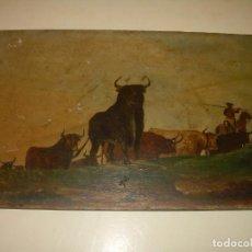 Arte: IMPORTANTE OLEO SOBRE TABLA MUY GRUESA....FIRMADO POR... SILVA..AÑO 1895.. Lote 138556310