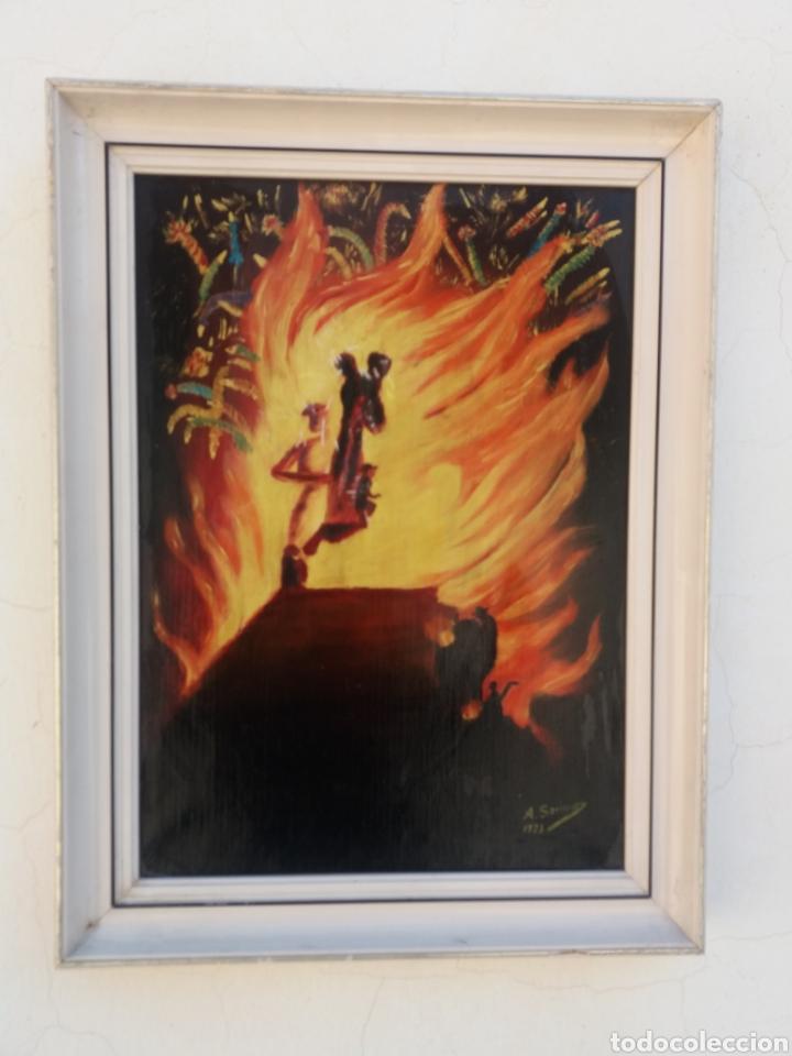 CUADRO PINTURA A MANO SOBRE TELA FIRMADO AÑOS 70 PINTURA ABSTRACTA (Arte - Pintura - Pintura al Óleo Contemporánea )