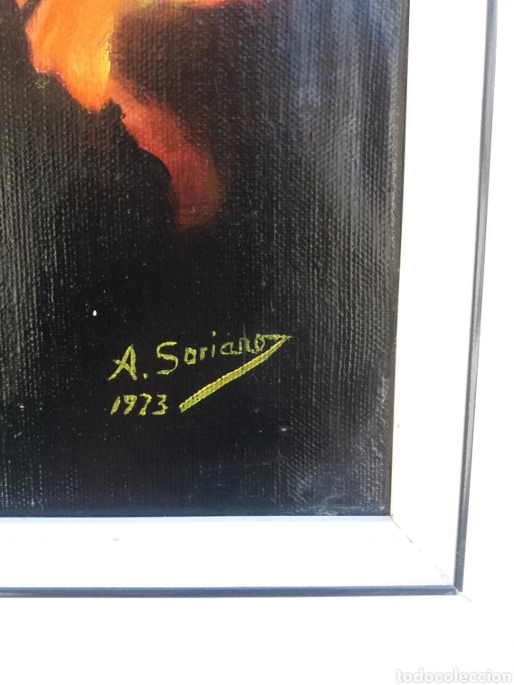 Arte: Cuadro pintura a mano sobre tela firmado años 70 pintura abstracta - Foto 2 - 138676674