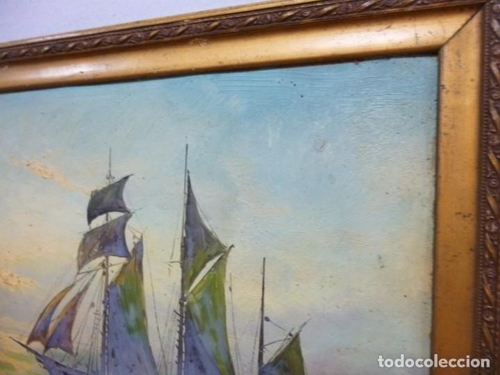 Arte: Olea sobre cartón rígido Autor Bayon Juan Bayon Salado Barco velero al atardecer - Foto 3 - 138687714