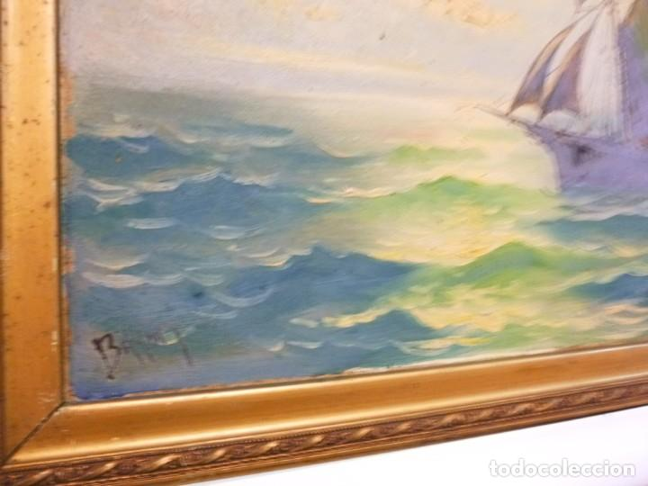 Arte: Olea sobre cartón rígido Autor Bayon Juan Bayon Salado Barco velero al atardecer - Foto 4 - 138687714