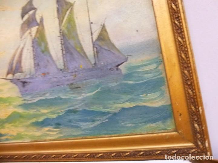 Arte: Olea sobre cartón rígido Autor Bayon Juan Bayon Salado Barco velero al atardecer - Foto 5 - 138687714