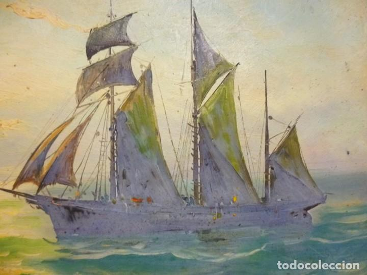 Arte: Olea sobre cartón rígido Autor Bayon Juan Bayon Salado Barco velero al atardecer - Foto 7 - 138687714