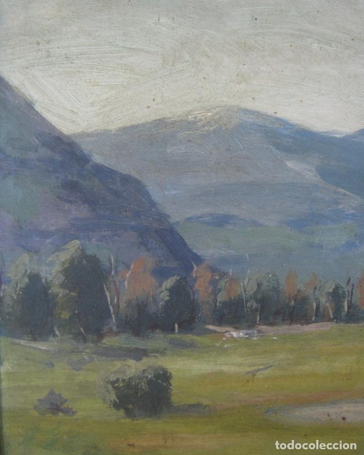 Arte: interesante pintura al oleo antigua - paisaje de montaña - firmada - gran marco - Foto 2 - 131460034