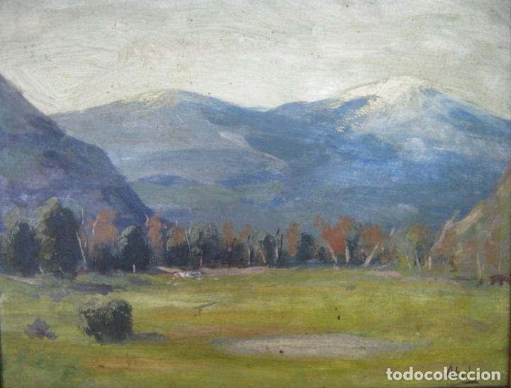 Arte: interesante pintura al oleo antigua - paisaje de montaña - firmada - gran marco - Foto 3 - 131460034