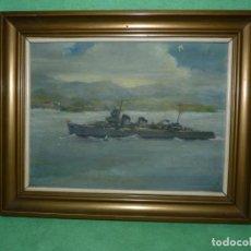 Arte: PRECIOSO OLEO MARINA SOBRE CARTÓN BUQUE MILITAR ARMADA ESPAÑOLA ELEGANTE TRAZO AÑOS 50 CALIDAD RARO. Lote 138705130