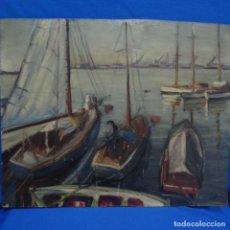 Arte: ÓLEO SOBRE TABLEX.FIRMADO E. GALLEMI.ESCUELA CATALANA.PUERTO.. Lote 138708546
