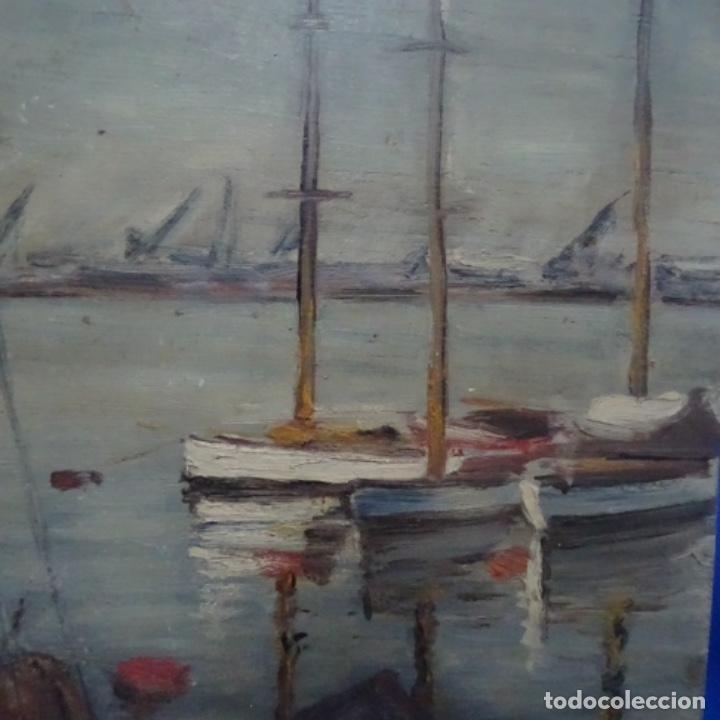 Arte: Óleo sobre tablex.firmado e. Gallemi.escuela catalana.puerto. - Foto 2 - 138708546