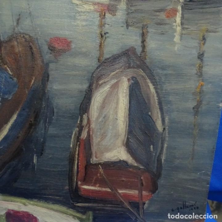 Arte: Óleo sobre tablex.firmado e. Gallemi.escuela catalana.puerto. - Foto 6 - 138708546