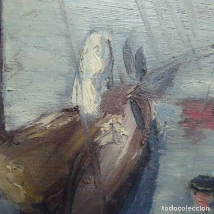 Arte: Óleo sobre tablex.firmado e. Gallemi.escuela catalana.puerto. - Foto 7 - 138708546