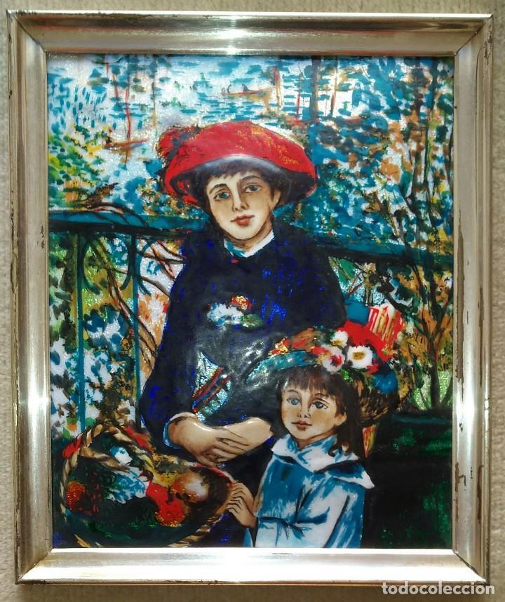 Arte: Renoir. Reproducción en esmalte del famoso cuadro, Dos hermanas en la terraza. - Foto 2 - 105114187