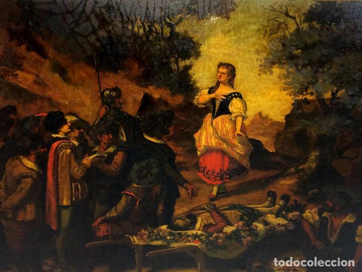 AVENTURAS DE DON QUIJOTE. (2)ÓLEOS SOBRE PAPEL-CARTÓN. FIRMADOS. ESPAÑA. CIRCA 1869 (Arte - Pintura - Pintura al Óleo Moderna siglo XIX)