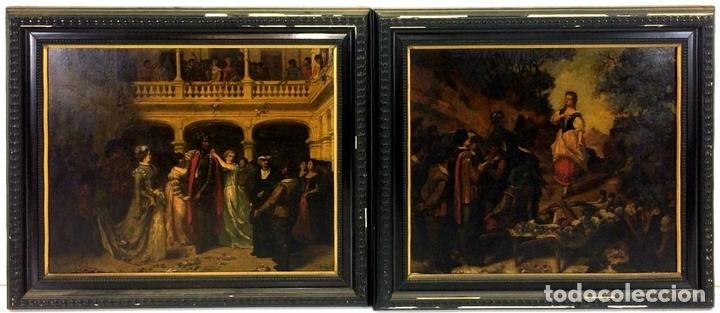 Arte: AVENTURAS DE DON QUIJOTE. (2)ÓLEOS SOBRE PAPEL-CARTÓN. FIRMADOS. ESPAÑA. CIRCA 1869 - Foto 2 - 138767534