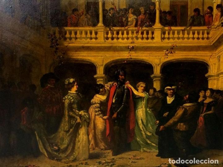 Arte: AVENTURAS DE DON QUIJOTE. (2)ÓLEOS SOBRE PAPEL-CARTÓN. FIRMADOS. ESPAÑA. CIRCA 1869 - Foto 3 - 138767534