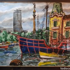Arte: PAISAJE DEL PUERTO DE BARCELONA POR ROBERT LENDUAY. Lote 138827862